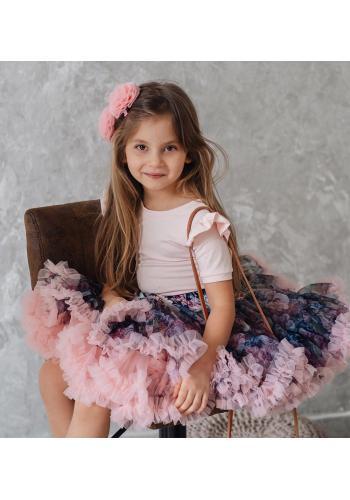 Sukňa pre dievčatá ružovej farby s farebnou potlačou motýľa