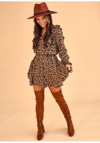 Dámske mini šaty s leopardím vzorom a V výstrihom