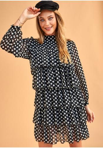 Čierne šifónové mini šaty s volánikmi a bielymi bodkami pre dámy