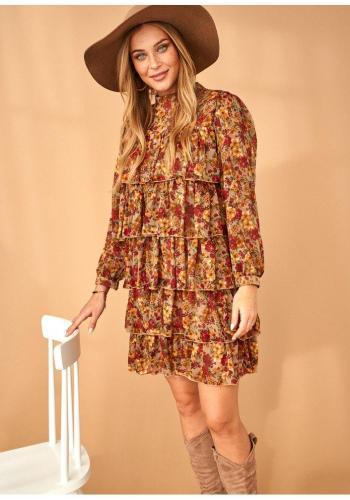 Štýlové šifónové mini šaty s volánikmi v medovej farbe s motívom kvetov pre dámy