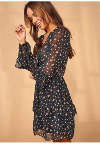 Štýlové šifónové šaty v čiernej farbe s hviezdami a volánikmi pre dámy
