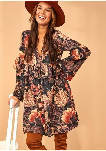Čierne lichobežníkové šaty s motívom kvetov a volánikom pre dámy