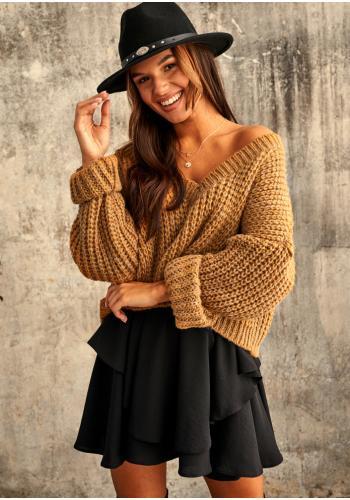 Dámsky mohérový krátky sveter s V výstrihom v medovej farbe pre dámy