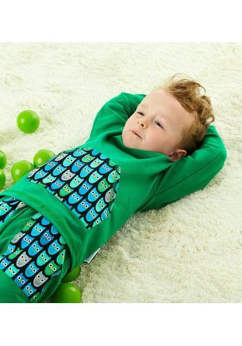 Zelená bavlnená tepláková súprava pre chlapcov s motívom sovy