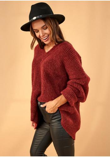 Bordový oversize sveter s V výstrihom pre dámy