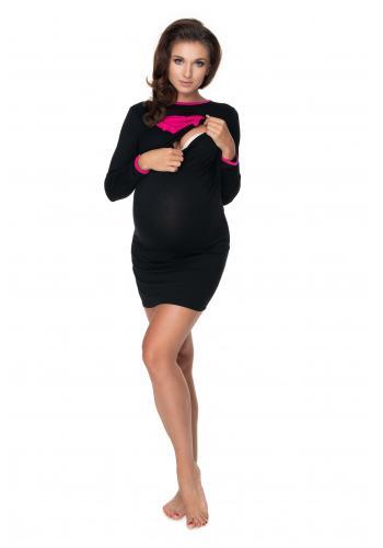 Čierna tehotenská a dojčiaca nočná košeľa na kŕmenie so srdcom