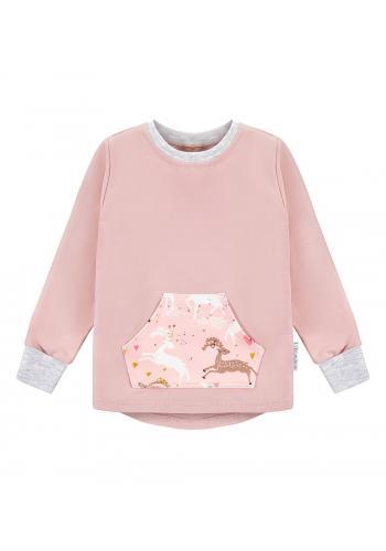 Ružová bavlnená mikina s jemným motívom jeleňov na vrecku