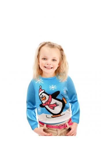 Vianočný detský sveter svetlomodrej farby s motívom tučniaka