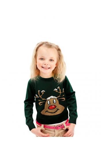 Zelený vianočný sveter s motívom soba pre deti