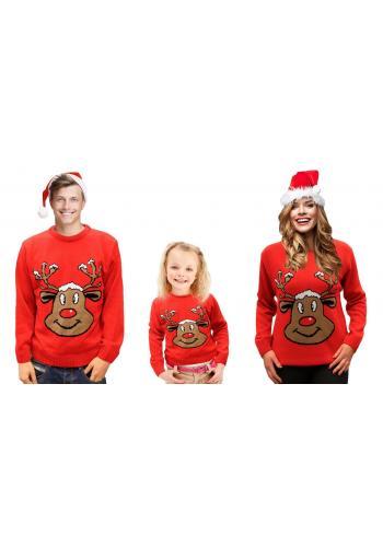 Detský vianočný sveter s motívom soba v červenej farbe