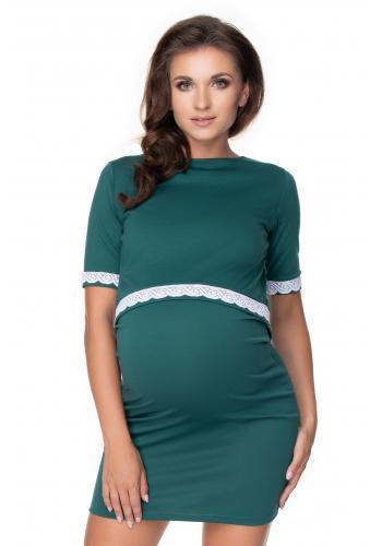 Zelené tehotenské a dojčiace šaty s kŕmnym panelom a ozdobnou čipkou
