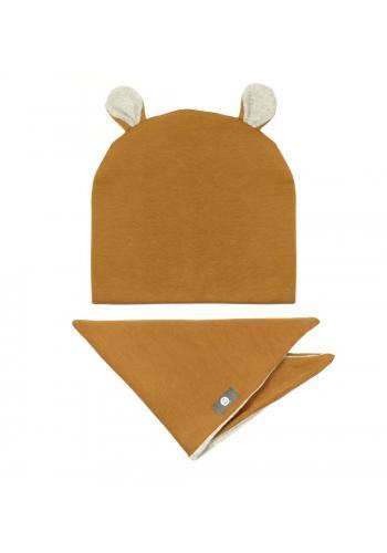 Hnedý komplet čiapka + šál