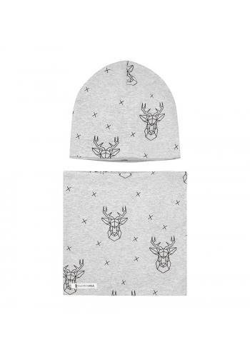 Šedý komplet čiapka + šál s motívom jeleňa
