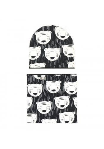 Čierna obojstranná súprava (čiapka + šál) s tigrom