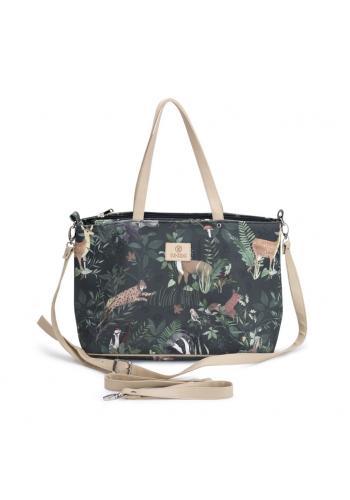 Príručná taška na kočík v čiernej farbe s potlačou zvierat