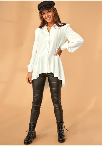 Krémová asymetrická košeľa pre dámy