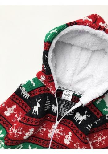 Zimná kombinéza pre deti s kapucňou s Vianočnou potlačou
