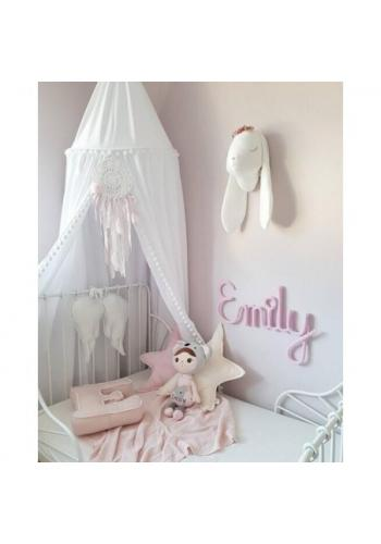 Detský tylový baldachýn v bielej farbe s brmbolcami