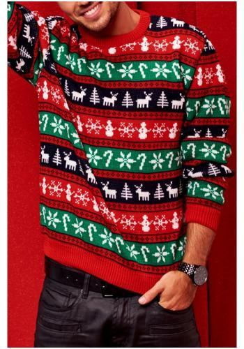 Pánsky sveter v zimných farbách a potlačou