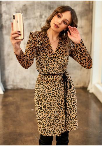 Púzdrové dámske šaty s leopardím vzorom