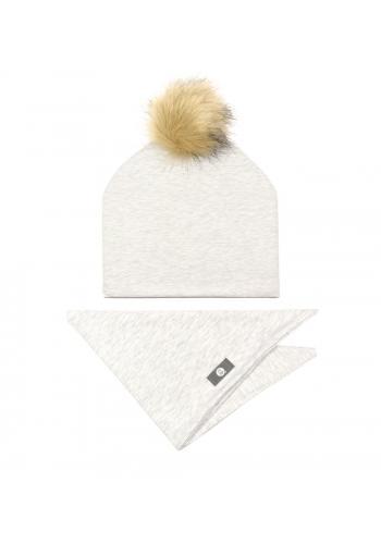 Šedá sada čiapka + šál na zimu