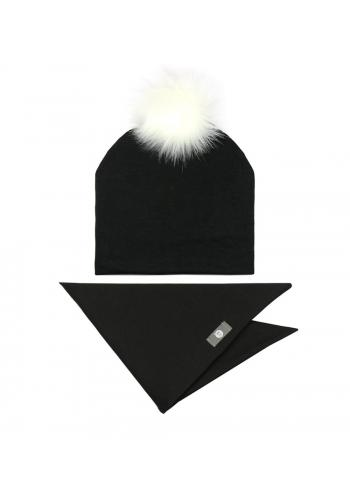 Bavlnená sada, čiapka + šál na zimu v čiernej farbe