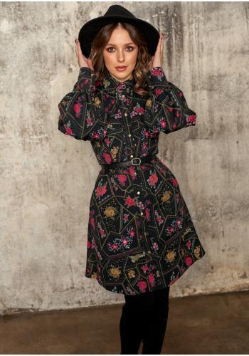 Dámske čierne šaty na zapínanie s viazaním okolo pásu s motívom kvetov