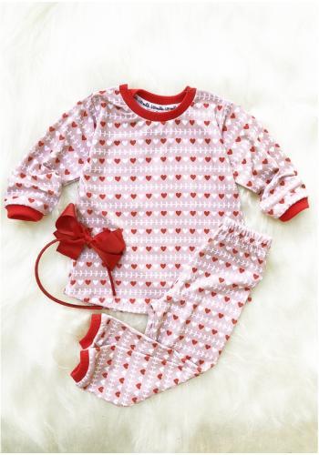 Detský dievčenský pyžamový komplet s potlačou srdiečok