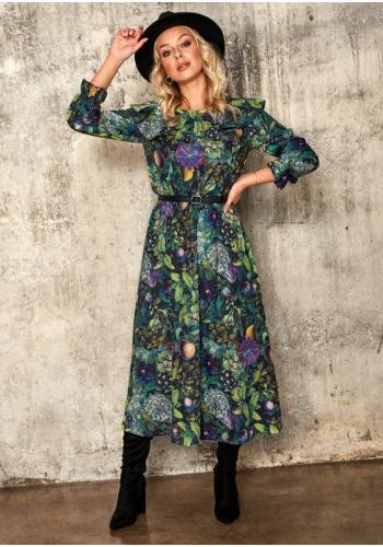 Zelené midi šaty s potlačou kvetou - zelená záhrada pre dámi