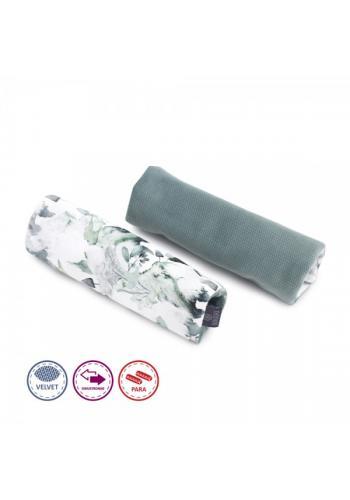 Obojstranné ochranné kryty na pásy do kočiara zamatové - šalvia zelená