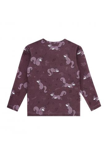 Bavlnené tričko s dlhým rukávom fialovej farby s potlačou veveričiek