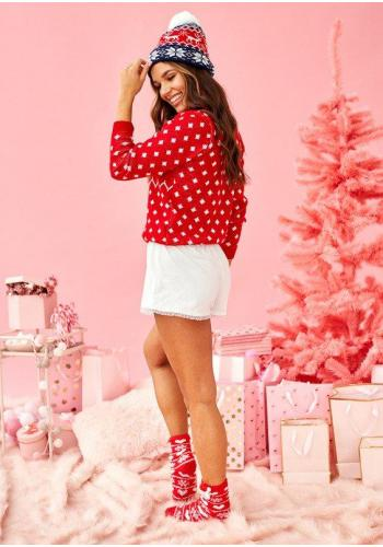 Červený sveter s bielým Vianočným motívom