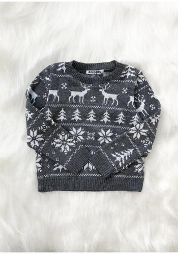 Sivý detský sveter s Vianočným motívom