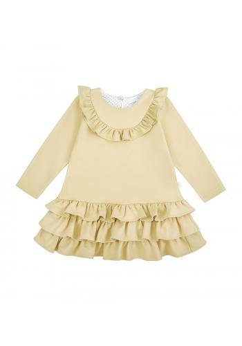 Bavlnené žlté šaty s dlhým rukávom pre dievčatá