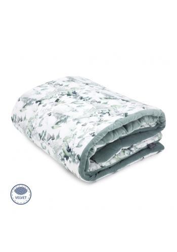 Zamatová teplá deka pre deti - šalvia zelená