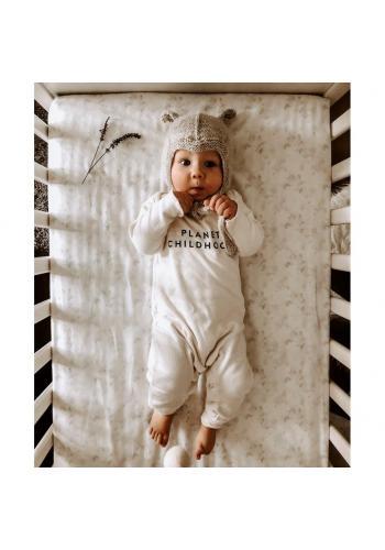 Detské prestieradlo s gumkou na posteľ bielej farby s motívom šalvie zelenej