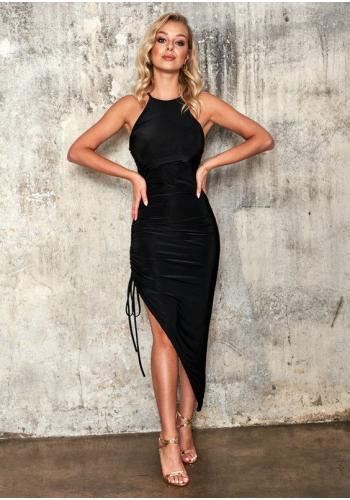 Dámske obtiahnuté čierne šaty so sťahovaním na boku