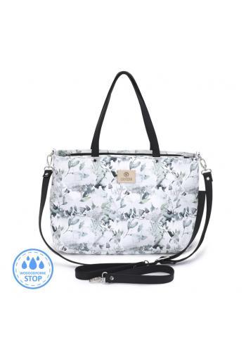 Príručná taška na kočík v bielej farbe s potlačou šalvie zelenej
