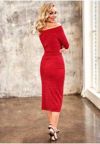 Červené midi šaty s holými ramenami a rázporkom