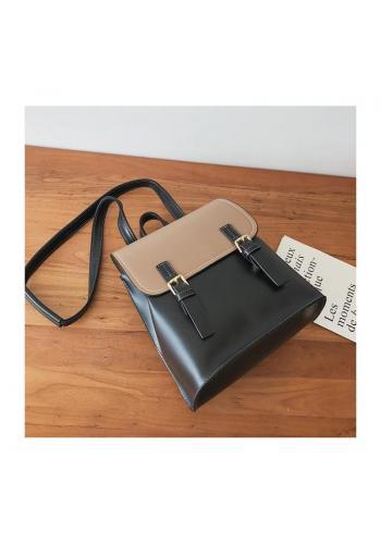 Elegantný dámsky ruksak čierno-hnedej farby s prackami