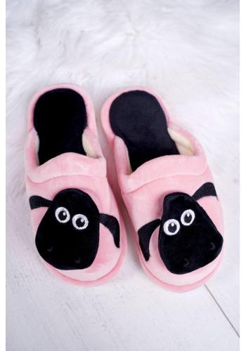 Ružové teplé papuče s ovečkou pre dámy