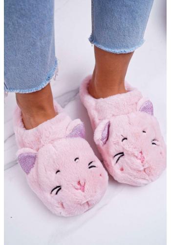 Ružové mačacie papuče s ušami pre dámy