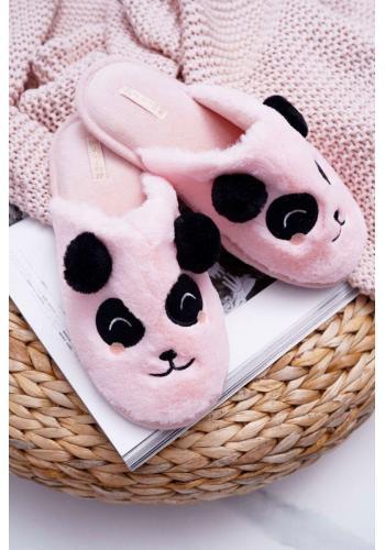 Kožušinové dámske papuče ružovej farby s pandou