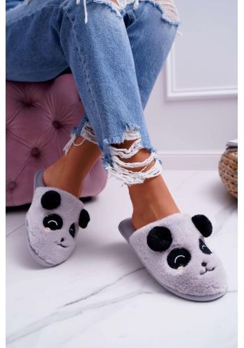 Svetlosivé kožušinové papuče s pandou pre dámy