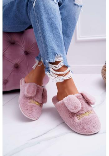 Dámske kožušinové papuče s ušami v tmavoružovej farbe