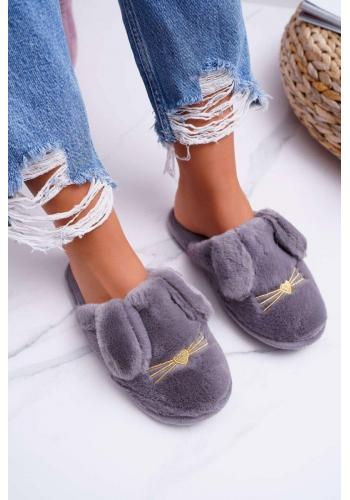 Kožušinové dámske papuče sivej farby s ušami
