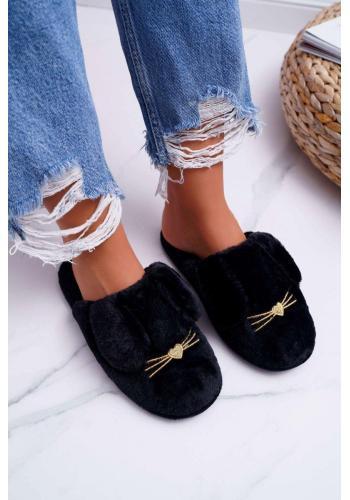 Čierne kožušinové papuče s ušami pre dámy