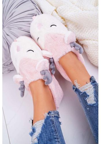 Ružové kožušinové papuče so sobmi pre dámy