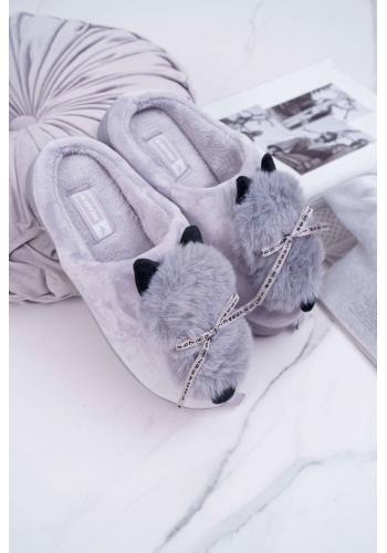 Mačacie dámske papuče sivej farby s mašľou