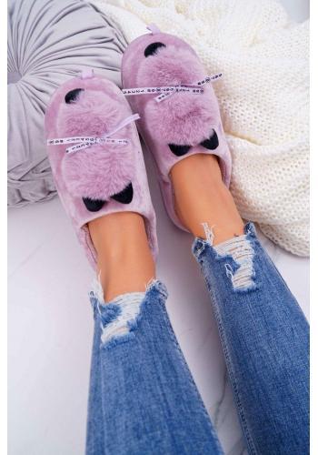 Fialové mačacie papuče s mašľou pre dámy